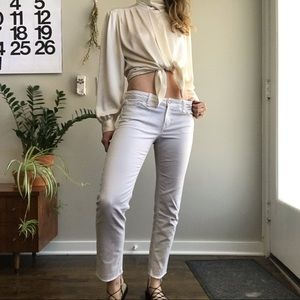 """GAP White """"Real Straight"""" Jeans with Raw Hem Ankle"""
